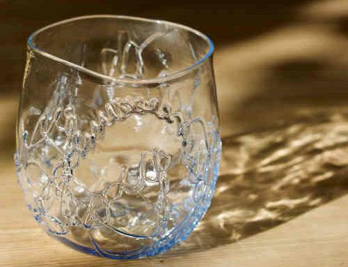 Tang glas blå